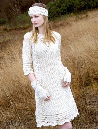 Aran Sweater Dress with Scallop Lace