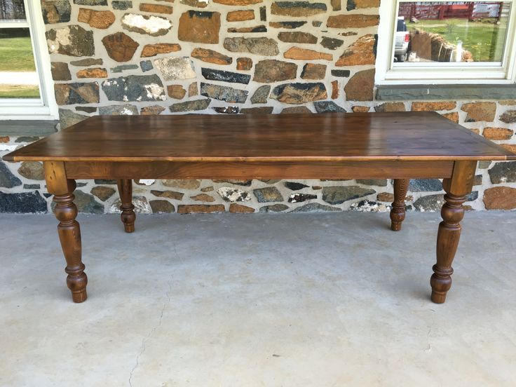 Reclaimed Pine Farmhouse Table With Our Cait Turn Legs    Www.furniturefromthebarn.com