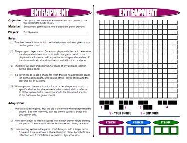 Entrapment: Transformation Math Games - Transformation Math Games - Translation, Rotation, Reflection Games: Recognize motion as a slide (translation), turn (rotation) or a flip (reflection)   Get all 42 Printable Math Games on TPT: http://www.teacherspayteachers.com/Product/MathFileFolderGames-42-Printable-Math-Games-for-Middle-School-Students-270708