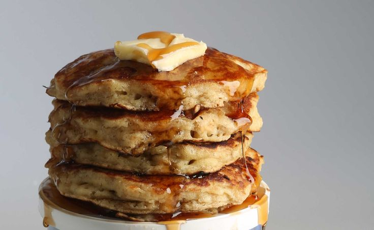 First there were pumpkin pancakes, then some made with bread crumbs.  ½ teaspoon baking soda  Stir in the eggs (beaten), buttermilk and melted butter.  Stir in the egg yolks, buttermilk and melted butter.  Beat the egg whites until stiff peaks form.
