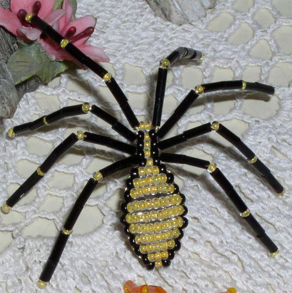 beaded spider black legs wlt yellow body beaded spidershalloween decorationshalloween