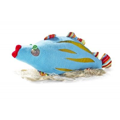 A Cod – delicate, juicy and sweet – a true sensation! The fish is made soft, blue polar fabric with gold & green stripped appliqués; it has a shiny eye with a bulgy button, mouths of red felt and cotton, multi-coloured stripped fins. Silicone balls filling. Wrapped in fishing net.