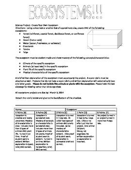 Ecosystem project that addresses multiple ecosystems taught in the DOE standards. Grading Rubric Included