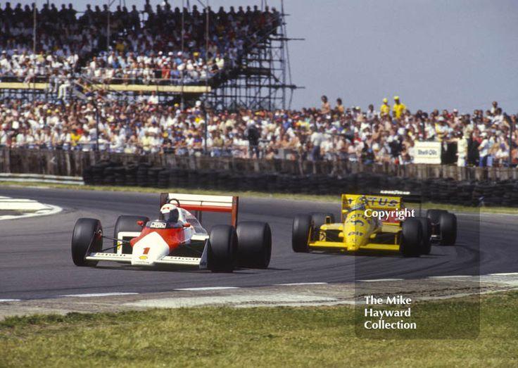 Alain Prost, Marlboro McLaren MP4-3 and Ayrton #Senna, Camel #Lotus 99T. Copse Corner, British Grand Prix, Silverstone, 1987 #f1 #formula1