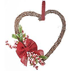 Heart Grapevine Valentine's Day Wreath with Flowers
