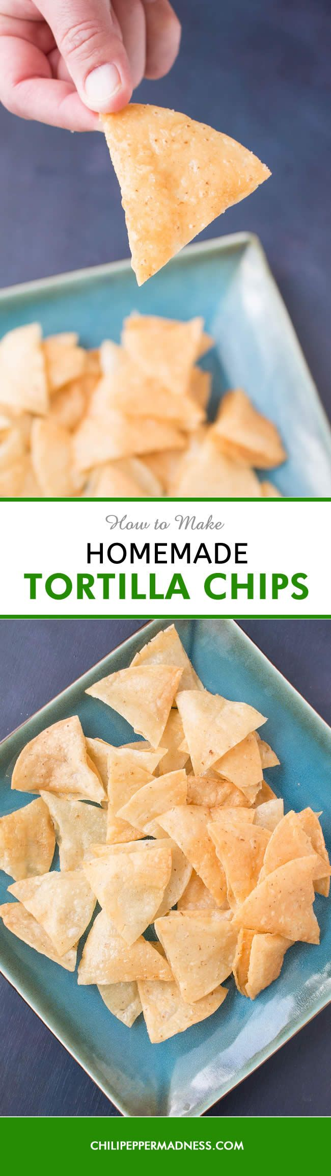 How to Make Homemade Crispy Tortilla Chips - Make your own crispy corn tortilla chips at home with this recipe. All you need is a bit of oil, corn tortillas, and salt. They're so much better when you make them on your own. They are best lightly fried, but you can also bake them. - Includes video recipe.