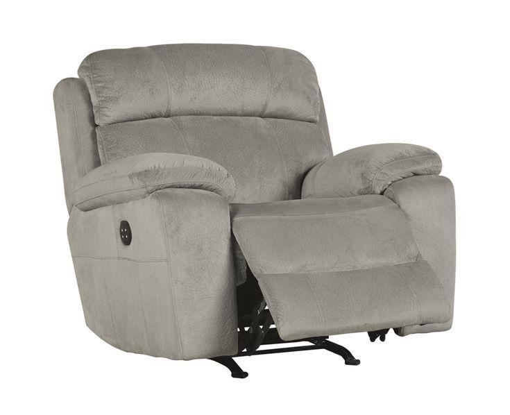 Uhland Contemporary Granite Fabric Adjustable Headrest Power Recliner