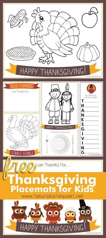 Free Printable Thanksgiving Placemats for Kids
