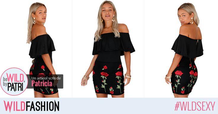 Ce ziceti de aceasta rochita mini? Senzualul decolteu bardot si florile brodate sunt un plus...