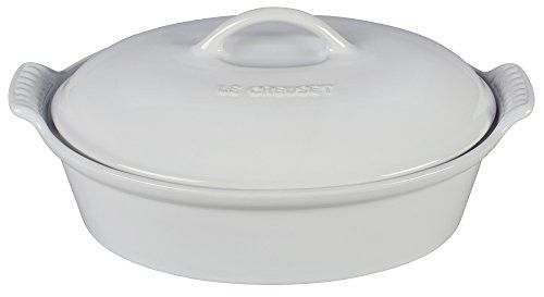 Le Creuset Stoneware Heritage Covered 2.25QT. Oval Casserole - White
