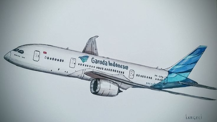Boeing 787-800 GARUDA INDONESIA drawing timelapse