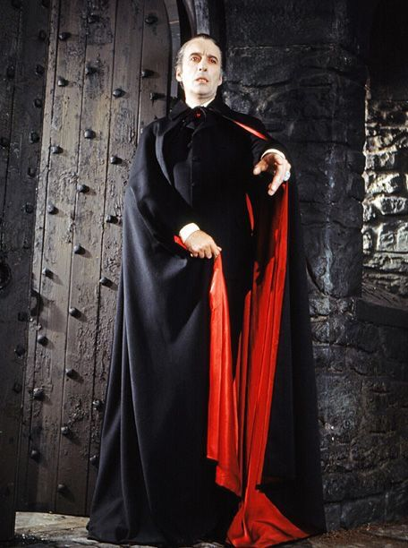 Christopher Lee as Count Dracula.