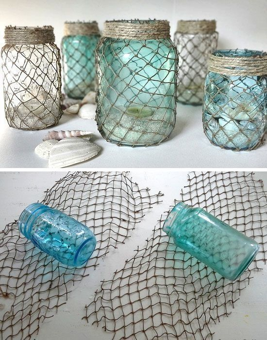 decorate some useful jars with netting this would help keep your pirate nautical - Beach Style Bathroom
