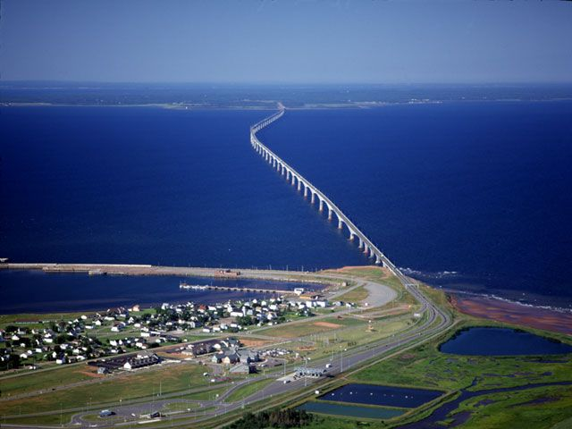 Confederation Bridge connecting New Brunswick and Prince Edward Island. Personally, I miss the ferry boats but this is quicker.