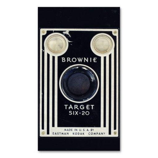 Retro camera brownie target business card template #BusinessCard #Design #vintagecamera #kodak