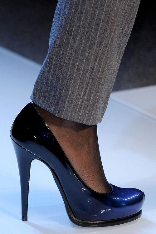 Roccobarocco dark blue patent leather pumps FW 2013 #shoes · Blue Shoes Women's ...