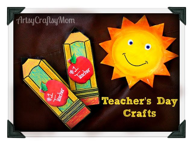 Teacher Day Card Stryfoam Plate Sun | From our post 20 Last Minute Handmade Teacher's Day Card ideas at ArtsyCraftsyMom.com - Free, printable and personalized thank-you cards that kids can make and Teachers will love! Perfect for National Teacher Appreciation Week and  or end of school Teacher appreciation tags.