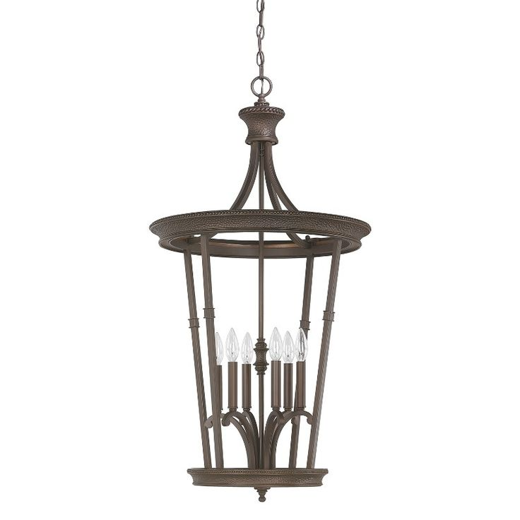 capital lighting 3560bb hill house 6 light foyer fixture in burnished bronze - Foyer Chandeliers
