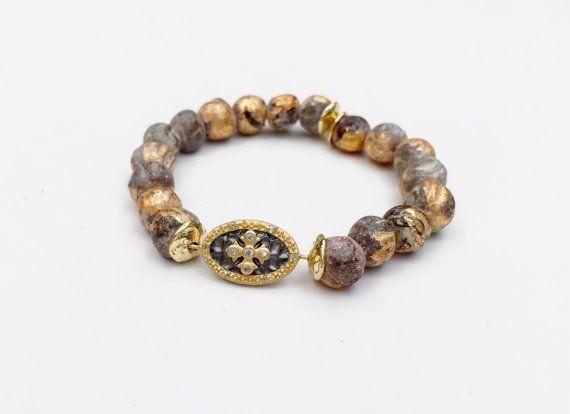 Bracelet Mala en céramique de feuille d