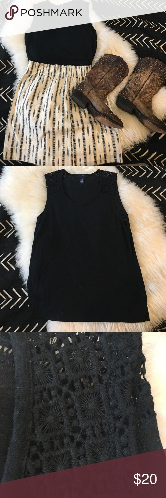 GAP linen blend top with crochet shoulder detail Cute black tank with crochet detail at shoulders. Pictured with J. Crew mini skirt and Frye cowboy boots also for sale in my closet. GAP Tops