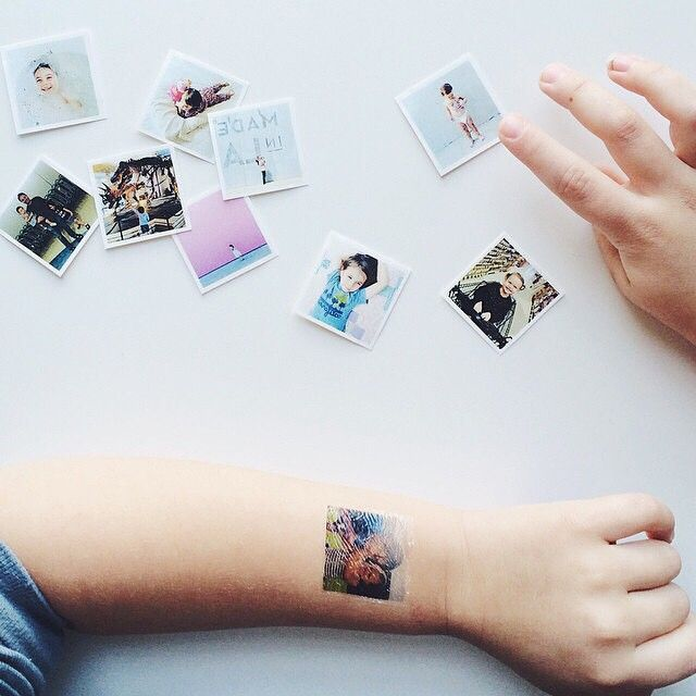 Instagram media by picattooonyou - What an an awesome #Picattoo set by @mamainlalaland! She printed her family and kids and a minimalist photo too. Great choice!
