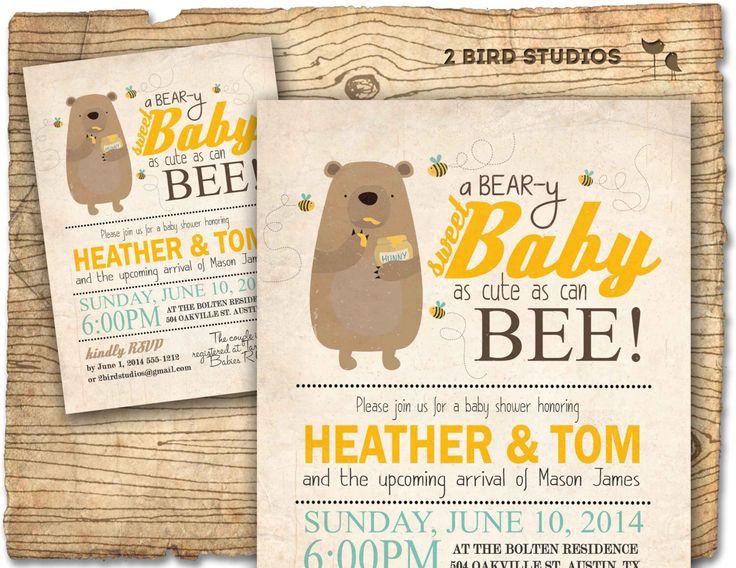 Bear baby shower invitation - Honey bee and honey bear baby shower invite - coed gender neutral printable invitation by 2birdstudios on Etsy https://www.etsy.com/listing/180431812/bear-baby-shower-invitation-honey-bee