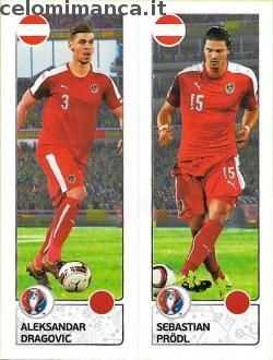 UEFA EURO 2016™ Official Sticker Album: Fronte Figurina n. 651 Aleksandar Dragovic - Sebastian Prödl