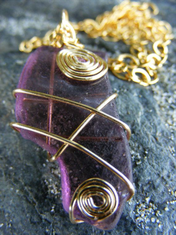 Authentic Rare Purple Sea Glass Necklace on 14 Karat Gold Plated Chain ($10 off until 08/20 with coupon code GRANDOPENING10)  #seaglass #seaglassjewelry #beachglass #beachglassjewelry #shophandmade #seaglassgrotto