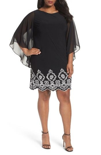 Beaded Hem Short Shift Dress (Plus Size) at Nordstrom.com. Ornate beading at the scalloped hem makes a captivating focal point for a jersey cocktail dress cut to show off great legs. Cascading sleeves of sheer chiffon add fluttery drama.