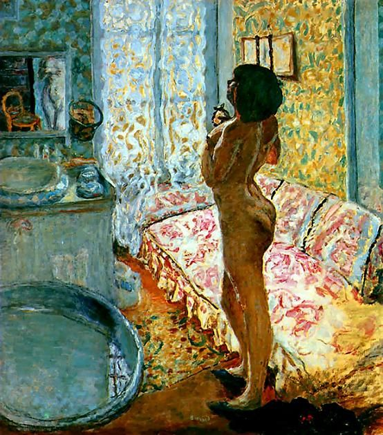 In 1912, Bonnard purchased a home in rural Vernonette, not far from Monet's Giverny. He also traveled and spent a good deal of time in the south of France on the Mediterranean. His discovery of the shimmering light and color in both rural Normandy and the south resulted in an explosion of color and light in his paintings. Among Bonnard's greatest masterpieces surely we must count the great painting Le Cabinet de toilette (also known as The Bottle of Perfume)......   A light worthy of Turner p...: