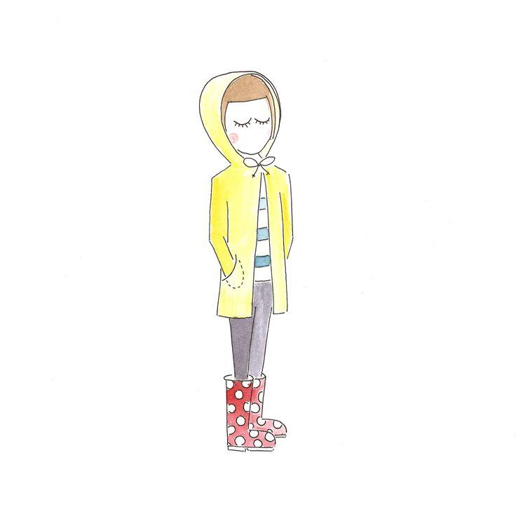 Rainy days!  mijksje - ontwerp - illustratie - tekening - design - laarzen -regenlaarzen - gele regenjas - meisje - rainjacket - yellow - illustration - rainboots - paint