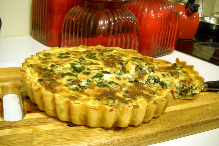 Spinach and mushroom quiche   Western Food Recipes   Pinterest
