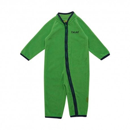 Fleece Overall with zipper, green, Celavi