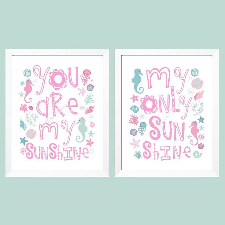 Nautical Nursery Art for girls - You Are My Sunshine Art Prints Pink and Aqua shells, marine animals, starfish, coral 11x14 UNFRAMED PRINTS by YassisPlace on Etsy https://www.etsy.com/listing/108346524/nautical-nursery-art-for-girls-you-are