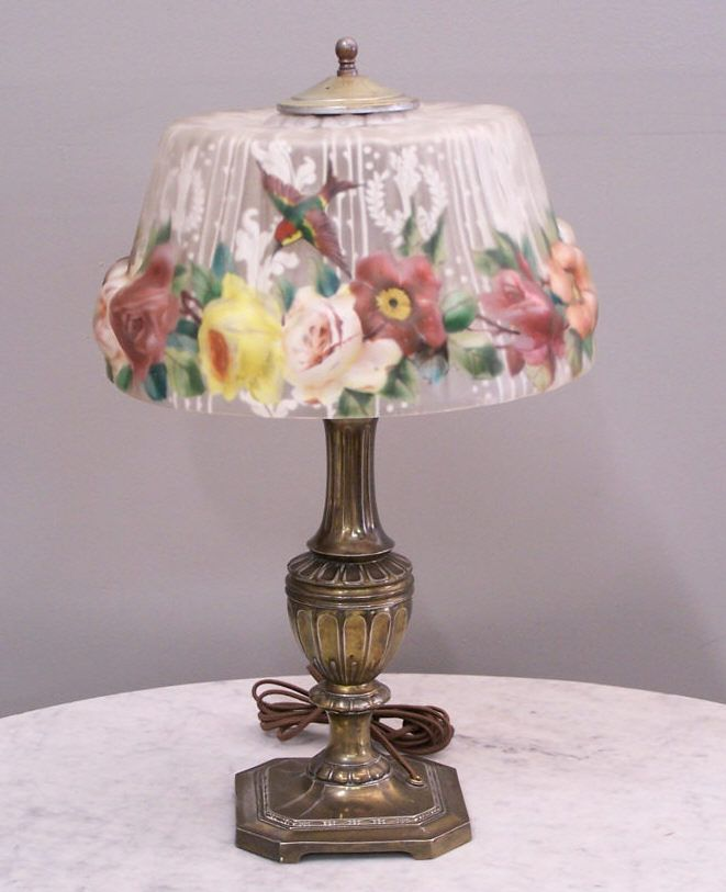 pairpoint+lamps | Pairpoint puffy lamp with hummingbirds c1920