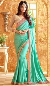 Sea Green Color Embroidered Silk Sari #plussizesaree #saricom Glam up with a swirl of magical beauty as wearing this sea green color embroidered silk sari. The lovely lace and resham work a considerable feature of this saree. Upon request we can make round front/back neck and short 6 inches sleeves regular saree blouse also.  USD $ 109 (Around £ 75 & Euro 83)