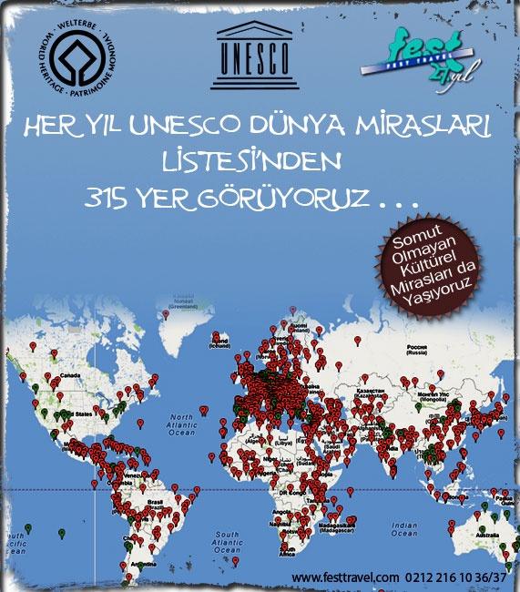 Her Yıl Unesco Dünya Mirasları Listesi'nden 315 yer görüyoruz...
