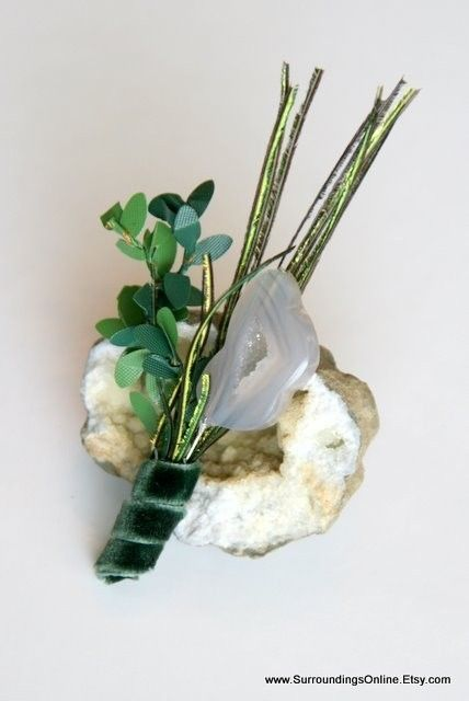 How to Throw a Rocking Geology Themed Wedding - geode bouttoniere