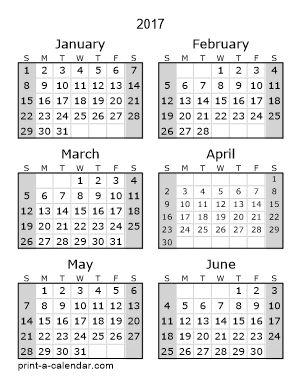 printable mini calendars 2018