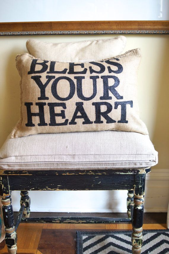 Burlap Charley Pillow  Bless Your Heart by kijsa on Etsy