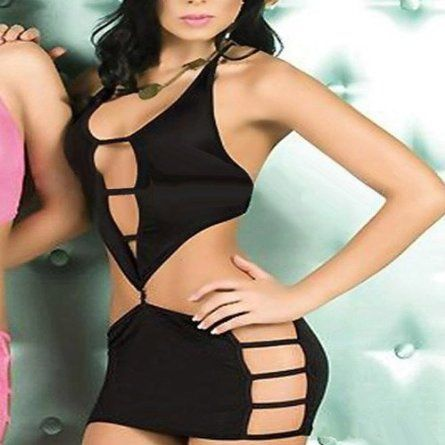 Black Sexy Lingerie Mini Dress Clubwear Holes Halter G ...