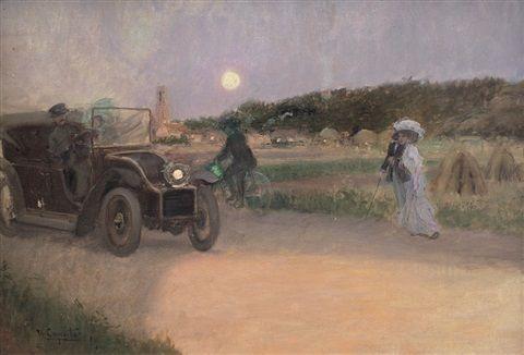 Ulisse Caputo - Paesaggio con figure e auto d'epoca