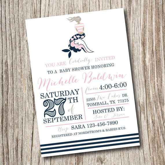 Nautical, Birthday, Bridal, Baby Shower, Mermaid, Preppy, Ocean, By The Sea, Watercolour, Watercolor, Invitation