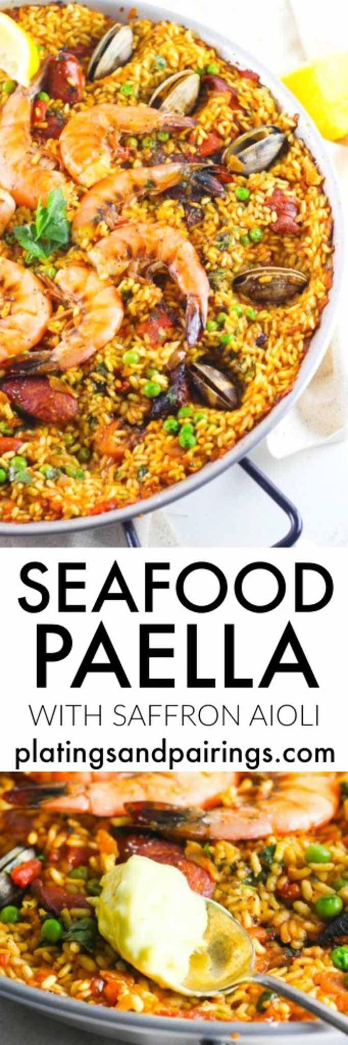 Seafood Paella with Saffron Aioli - This Paella is SURE to impress! | platingsandpairings.com