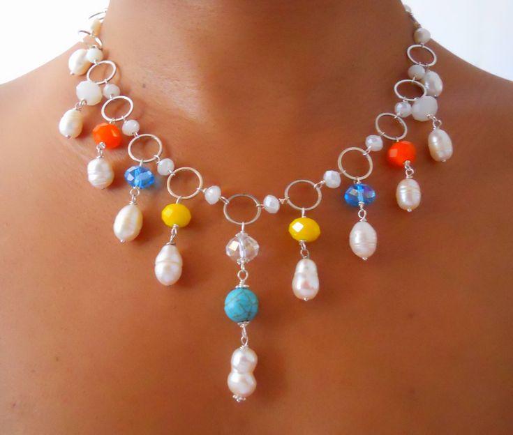 collar babero#perlas #cristales #cadenas #plateadas #multicolor