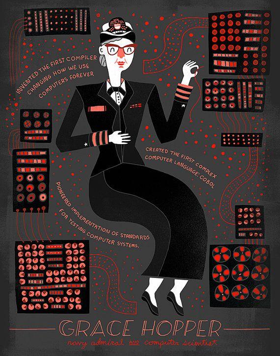 Women in Science: Grace Hopper by Rachelignotofsky on Etsy
