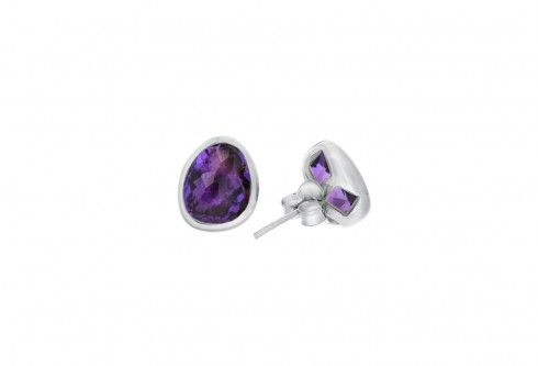 Athena amethyst silver stud earrings
