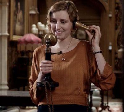 Modern Edith on the telephone