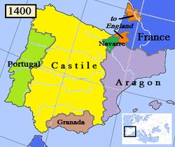 The Kingdom of Navarre (/nəˈvɑːr/; Basque: Nafarroako Erresuma, Spanish: Reino de Navarra, French: Royaume de Navarre, Latin: Regnum Navarrae), originally the Kingdom of Pamplona, was a European kingdom which occupied lands on either side of the Pyrenees, alongside the Atlantic Ocean between present-day Spain and France.
