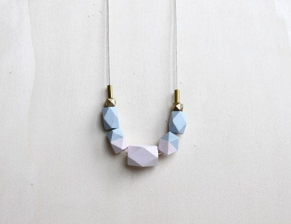 pastel wooden geometric necklace // nude, lilac dipped necklace for girls, women - minimalist everyday jewelry - eco-friendly by BelleAccessoires on Etsy https://www.etsy.com/listing/243337385/pastel-wooden-geometric-necklace-nude